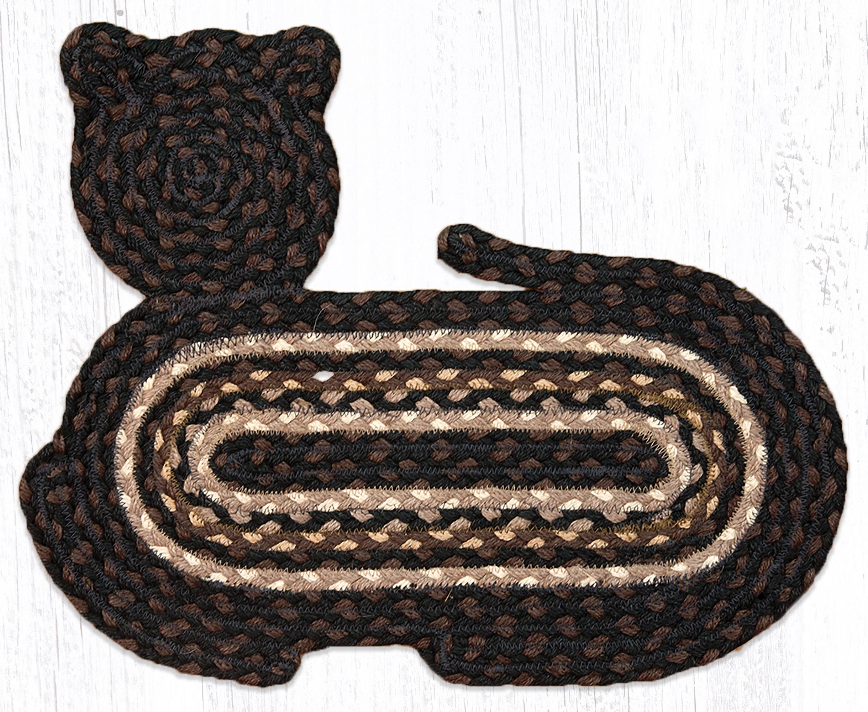 Cat Shaped Braided Jute Rug 63-C313
