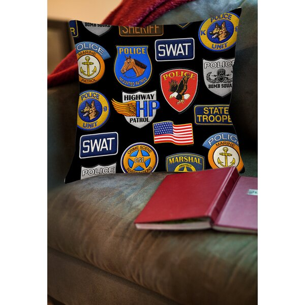 Police Patches Printed Throw Pillow by Manual Woodworkers & Weavers