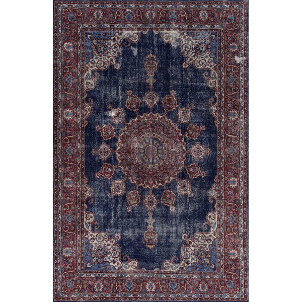 Agadir Denim/Burgundy Area Rug by Bungalow Rose