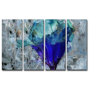 Painted Petals LX 4 Piece Painting Print on Wrapped Canvas Set by Ready2hangart