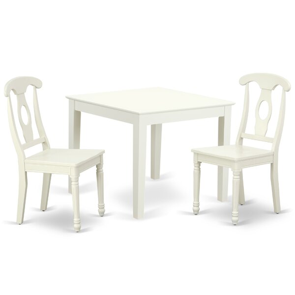 Lambdin 3 Piece Solid Wood Dining Set by August Grove