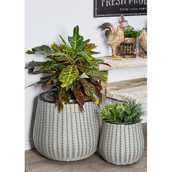 Modern Bud Woven 2-Piece Rattan Pot Planter Set by Cole & Grey