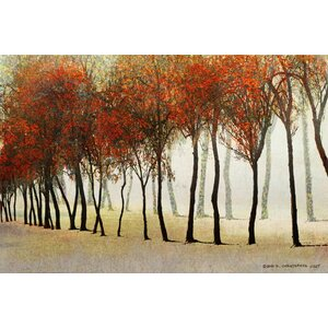 'Row Of Trees Red' by Chris Vest Painting Print on Wrapped Canvas by Marmont Hill