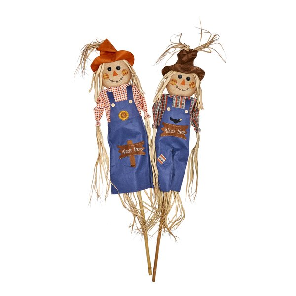 2 Piece Whooos There Scarecrow Oversized Figurine Set (Set of 2) by The Holiday Aisle
