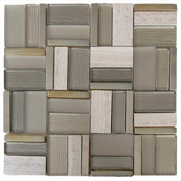 Platinum Glass/Stone/Metal Mosaic Tile in Gray by Tile Focus