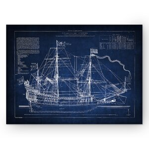 'Vintage Sailing Ship Blue Sketch' Graphic Art Print on Wrapped Canvas by Wexford Home