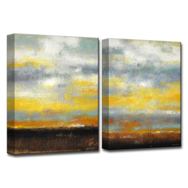 754b759ca85 Painted Sunset I ii 2 Piece Painting Print On Wrapped Canvas Set By Wrought  Studio