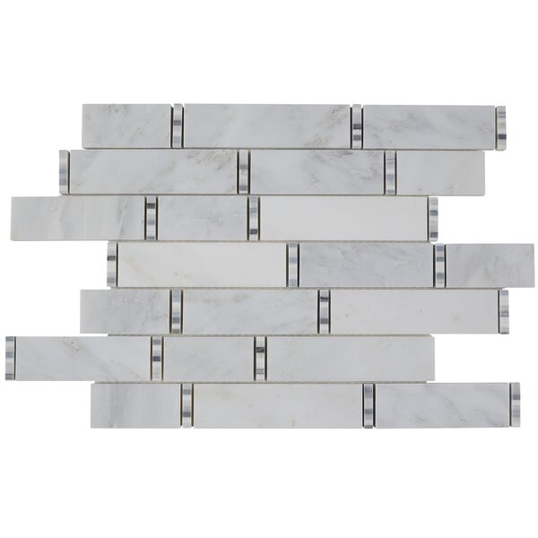 Harrison Random Sized Marble Mosaic Tile in First Snow Elegance by Itona Tile