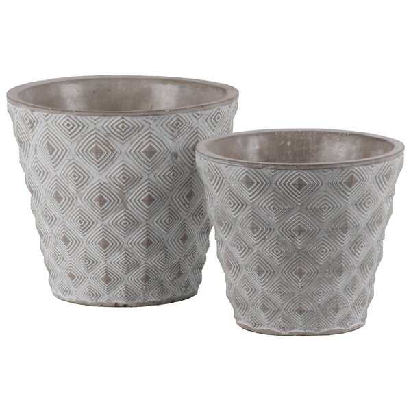 Pinzon Round 2-Piece Concrete Pot Planter Set (Set of 2) by Bungalow Rose