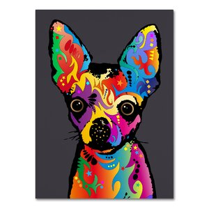 Chihuahua Dog Grey Graphic Art on Wrapped Canvas by Latitude Run