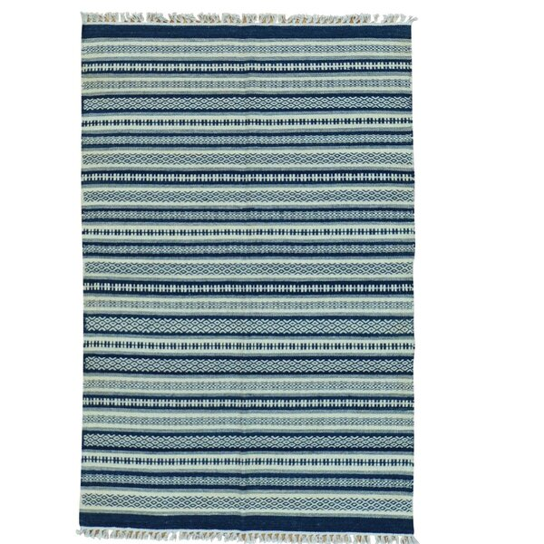 Durie Kilim Flat Weave Hand-Knotted Blue Area Rug by Bloomsbury Market