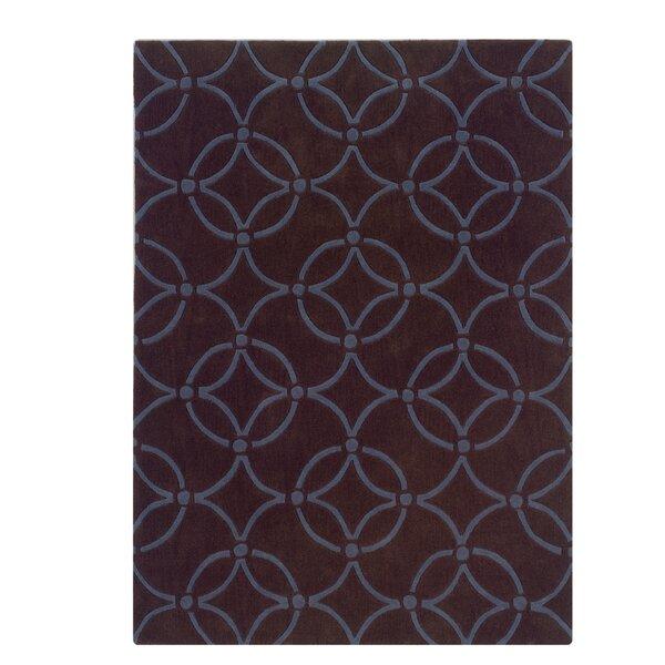 Columban Hand-Tufted Chocolate/Blue Area Rug by Charlton Home
