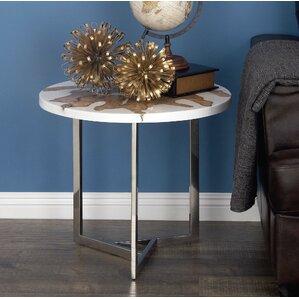 Aluminum/Teak End Table by..