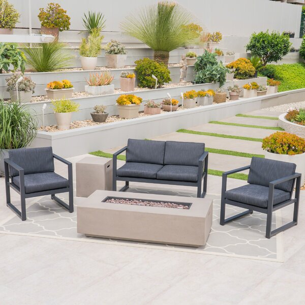 Frankfort Outdoor 5 Piece Sofa Seating Group with Cushions by Ivy Bronx