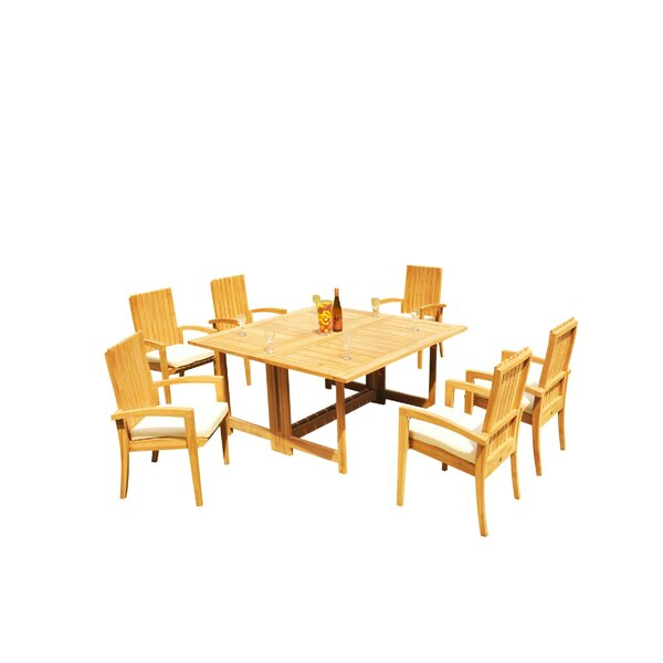 Mathena 7 Piece Teak Dining Set by Rosecliff Heights