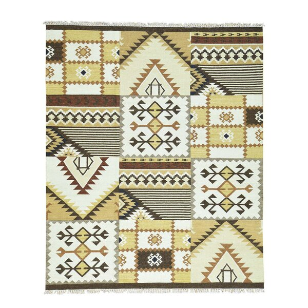 Anatolian Durie Kilim Oriental Flat Weave Hand-Knotted Beige/Brown Area Rug by Bloomsbury Market