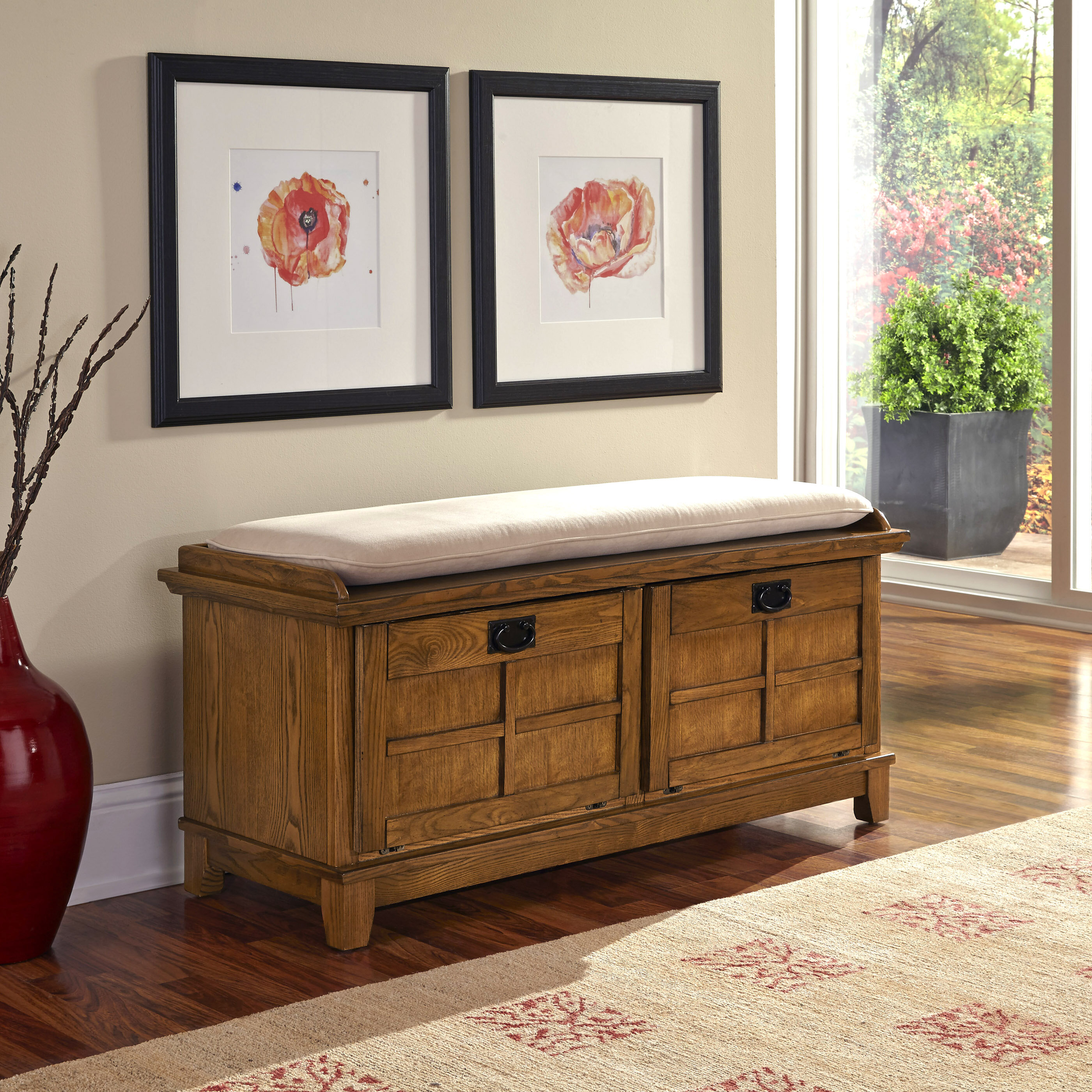 Three Posts Ferryhill Wood Storage Bench U0026 Reviews | Wayfair