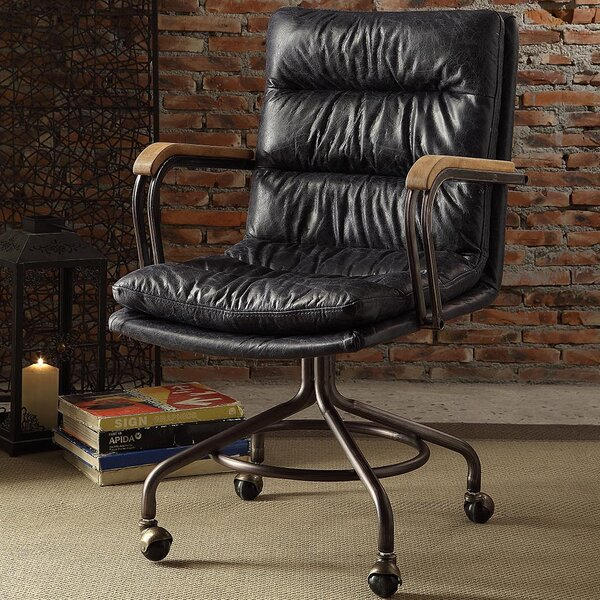 Zebulon High-Back Leather Executive Chair by 17 Stories