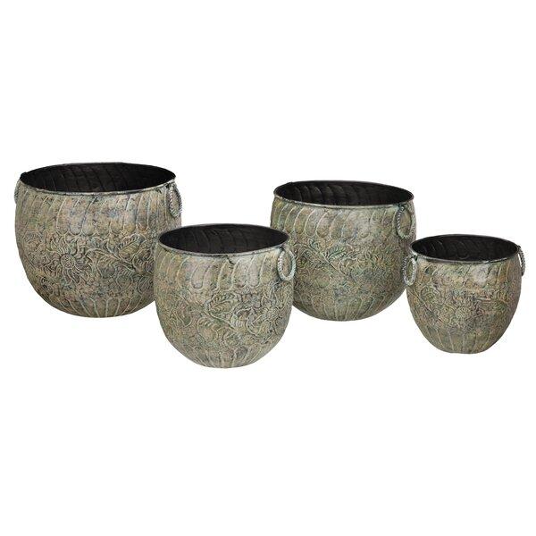 4-Piece Cast Iron Pot Planter Set by Regal Art & Gift