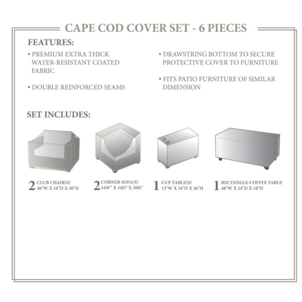 Cape Cod Winter 6 Piece Sofa Cover Set by TK Classics
