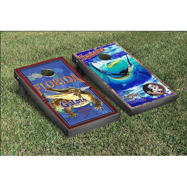 NCAA Guy Harvey Florida UF Gators and Florida State FSU Seminoles Cornhole Game Set by Victory Tailgate