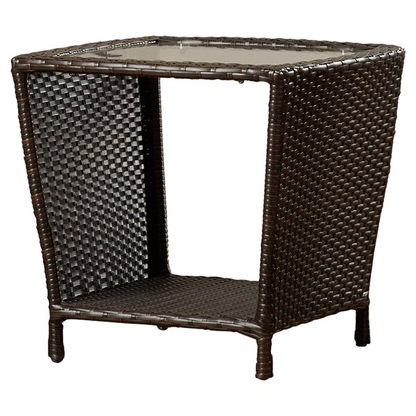 Caro Outdoor Wicker Side Table with Glass Top by M