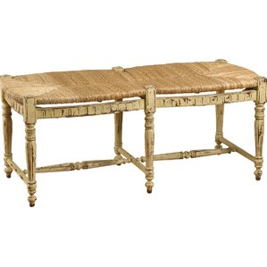 Wicker/Wood Bench by AA Importing