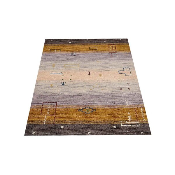 St Catherine Hand-Knotted Wool Brown/Cream Area Rug by Millwood Pines