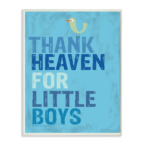 The Kids Room Thank Heaven for Little Boys Textual Art Wall Plaque by Stupell Industries