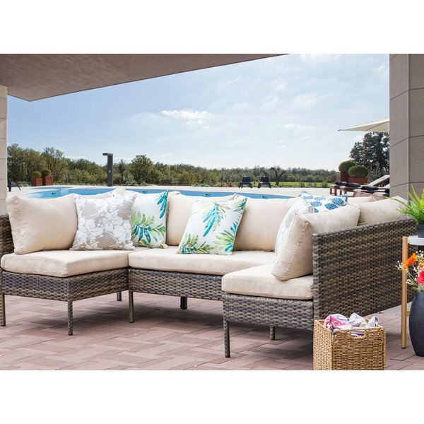 Ontonagon 3 Piece Rattan Sectional Seating Group with Cushions by Gracie Oaks