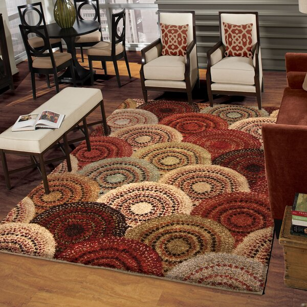 Eleanor Beige/Red Area Rug by Threadbind