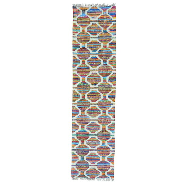 Flat Weave Kilim Hand-Knotted Orange/Blue Area Rug by Bungalow Rose