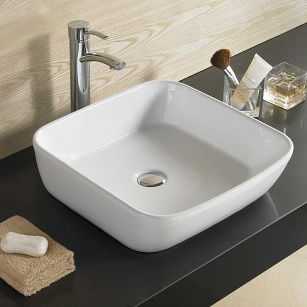 Right Drilling Ceramic Rectangular Vessel Bathroom Sink