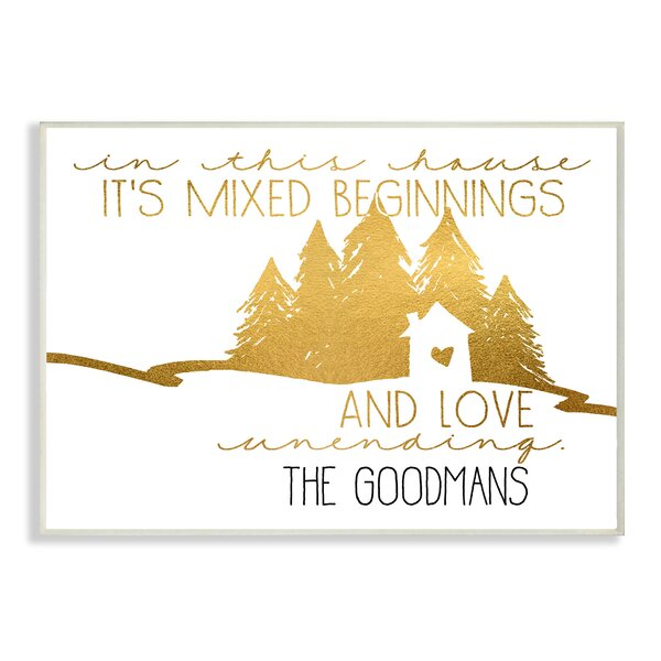 Personalized Gold House Mixed Beginnings and Love Wall Plaque Art by Stupell Industries