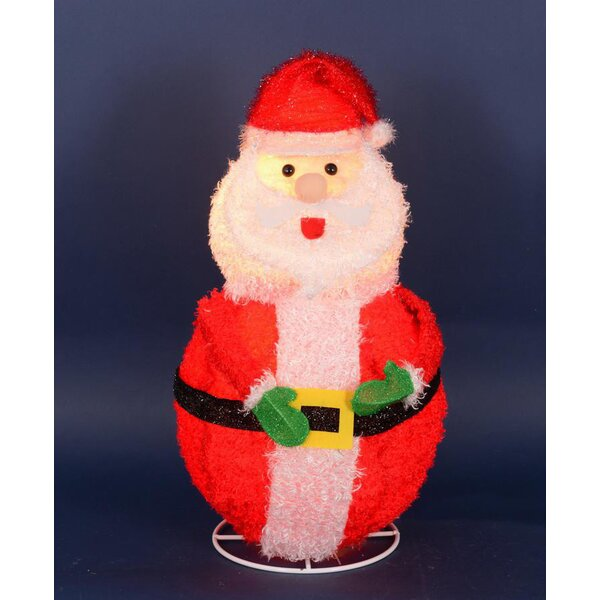 Lighted 3-D Chenille Jolly Santa Claus Outdoor Christmas Decoration by Penn Distributing