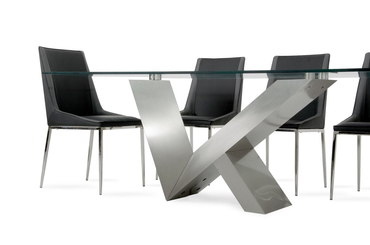 Carberry Glass/Stainless Steel Dining Table & Reviews | AllModern