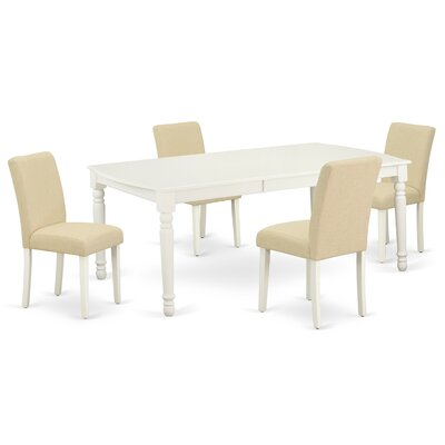 Alcott Hill Shauna 5 - Piece Extendable Rubber Solid Wood Dining Set  Table Color: Linen White, Chair Color: Light Beige