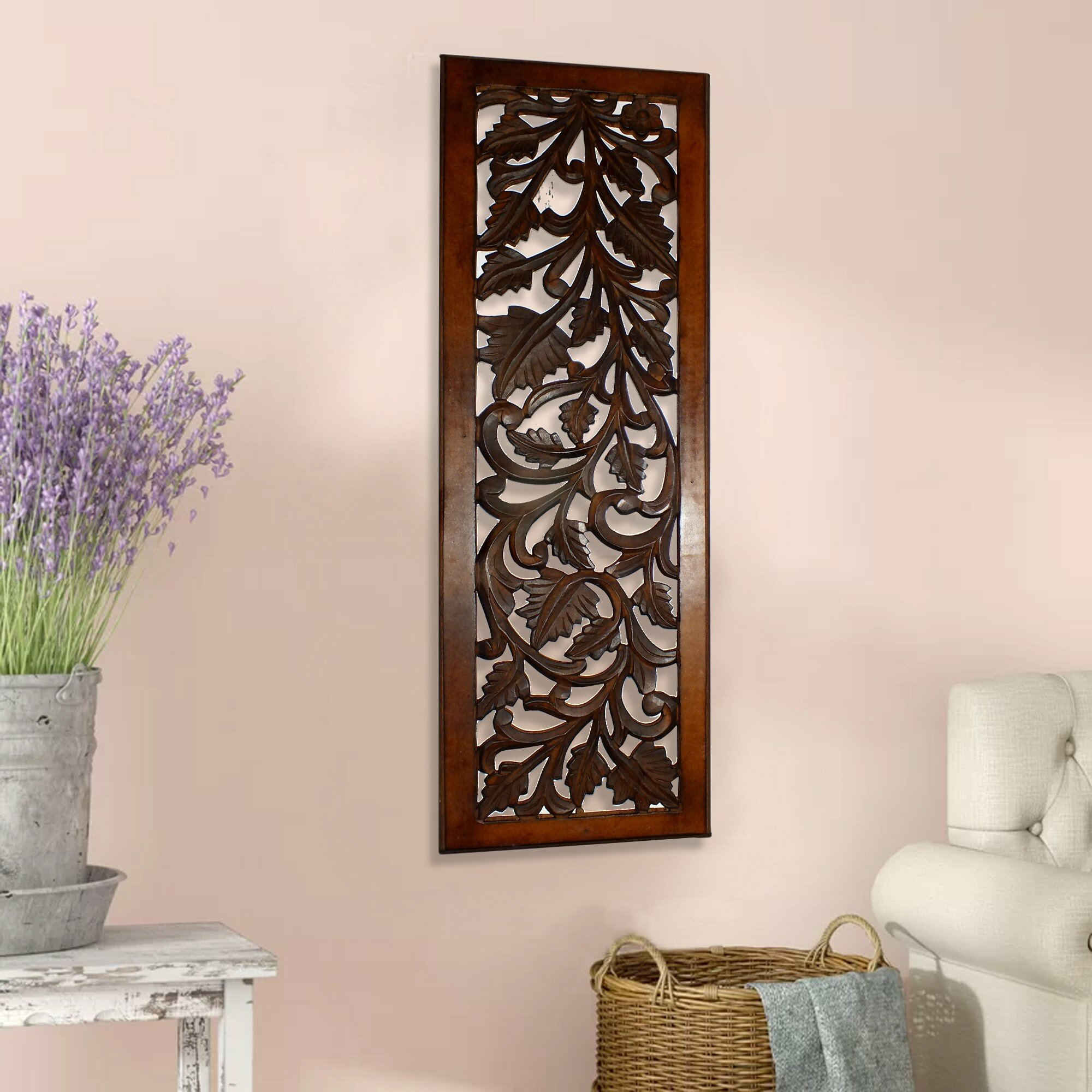 Mango Wood Panel With Leaves And Scroll Work Motif Wall Decor