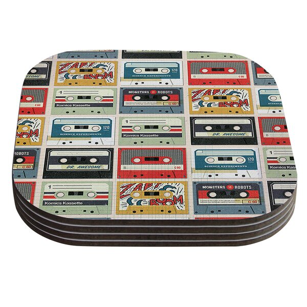 Retro Tape by Heidi Jennings Multicolor Coaster (Set of 4) by KESS InHouse