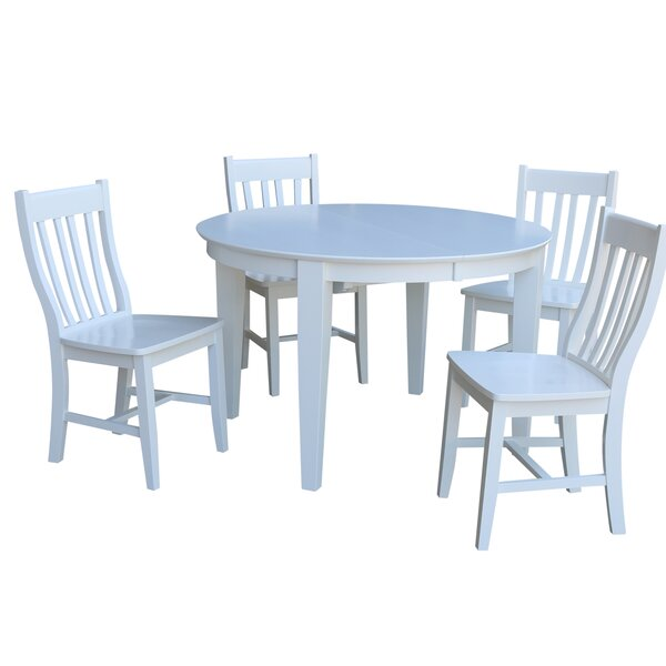 Round 5 Piece Extendable Solid Wood Dining Set by Sedgewick Industries Sedgewick Industries