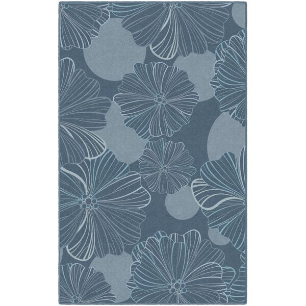 Bonnie Oversized Flowers Gray/Blue Area Rug by Highland Dunes