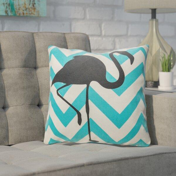 Buckwalter Chevron Flamingo Throw Pillow by Wrought Studio