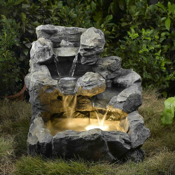 Resin/Fiberglass  Rock Creek Cascading Fountain with Light by Jeco Inc.