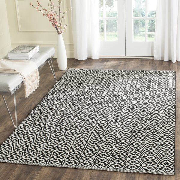 Whyte Hand Woven Ivory/Black Area Rug by Wrought Studio