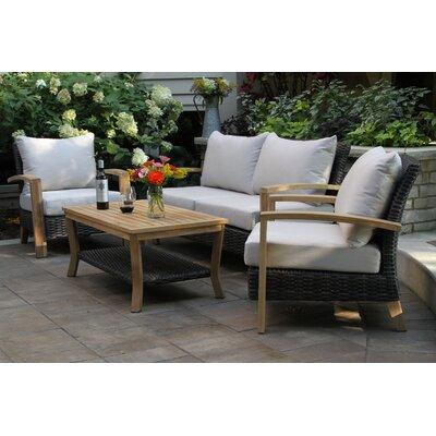Three Posts Wicker Teak Sofa Seating Group Sunbrella Cushions Seating Groups