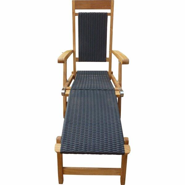 Jovie Steamer Reclining Teak Chaise Lounge by Highland Dunes