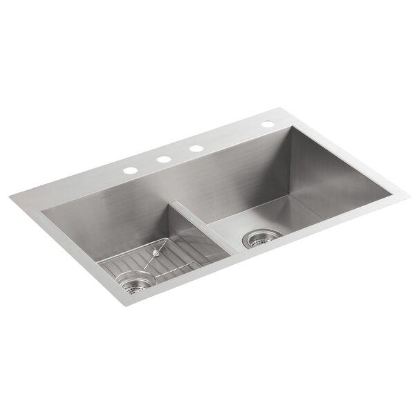 Vault 33 L x 22 W x 9-5/16 Smart Divide Top-Mount/Under-Mount Double-Equal Bowl Kitchen Sink with 4 Faucet Holes by Kohler