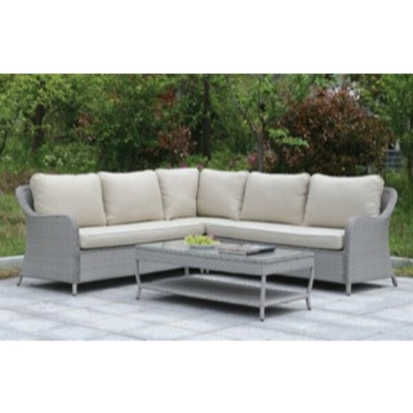 Kingon 2 Piece Rattan Sectional Seating Group with Cushions by Alcott Hill