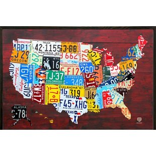Made in the usa map wall art youll love wayfair architect license plate map of the us poster framed graphic art print poster gumiabroncs Choice Image