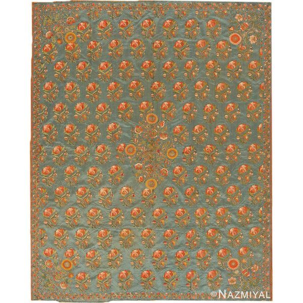 One-of-a-Kind Hand-Knotted Before 1900 Blue 5'2 x 6'4 Silk Area Rug